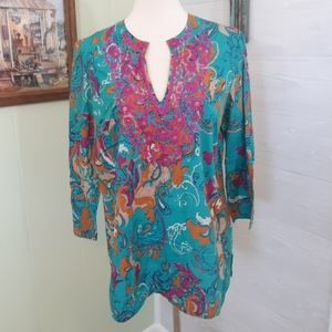 Charter club embroidery paisley tunic top sz 8